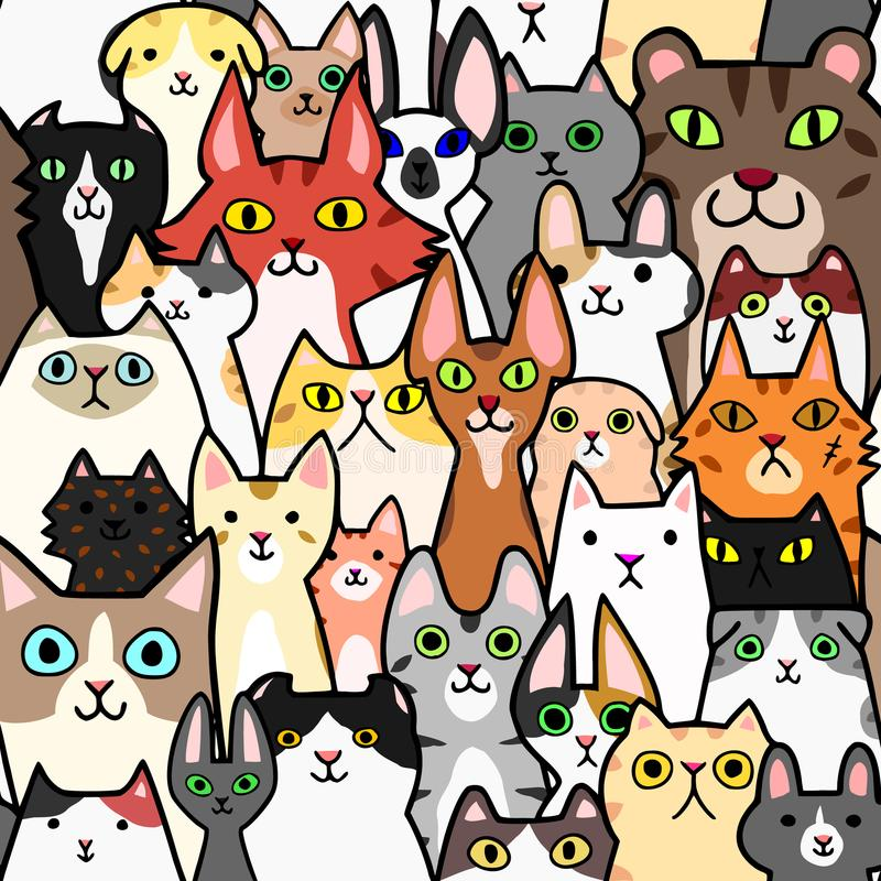Seamless doodle cats colorful background royalty free illustration