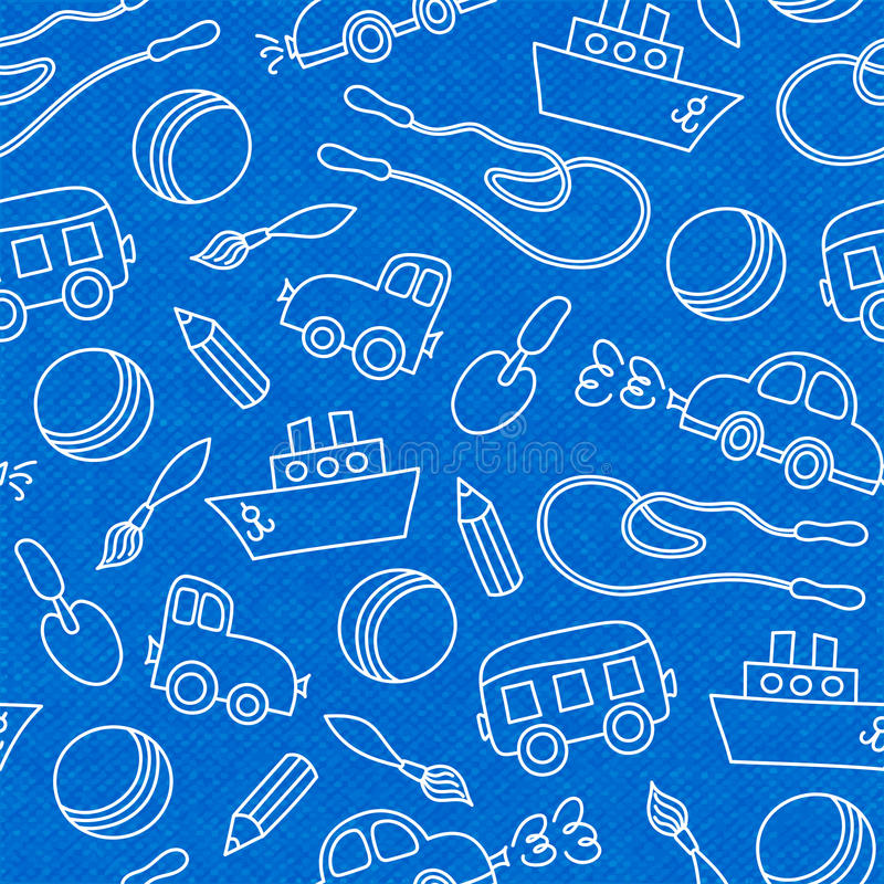Seamless doodle children toys pattern. Seamless doodle children toys of scoop bucket and ball pattern vector illustration royalty free illustration
