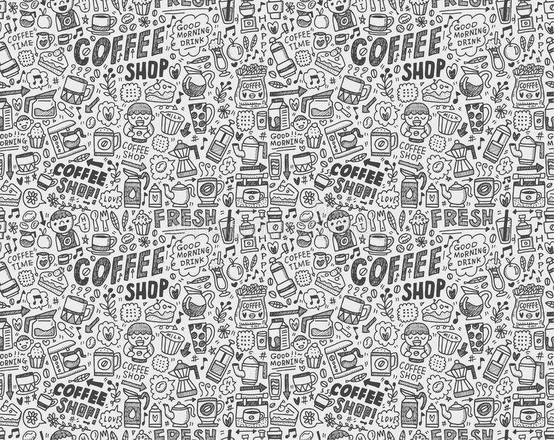 Download Seamless Doodle Coffee Pattern Background Stock Illustration - Illustration: 33644941