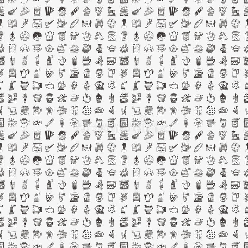 Download Seamless Doodle Coffee Pattern Background Stock Photo - Image: 34873130