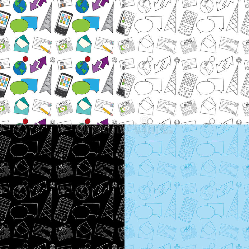 Download Seamless Doodle Communication Pattern Stock Vector - Image: 24076156