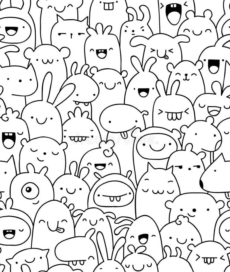 Seamless doodle creatures pattern stock illustration