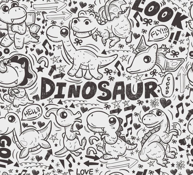 Download Seamless Doodle Dinosaur Pattern Stock Vector - Illustration of fantasy, element: 32930153