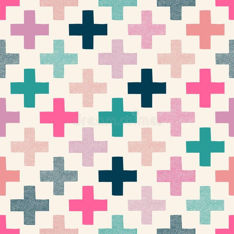 Seamless doodle dots cross pattern vector illustration