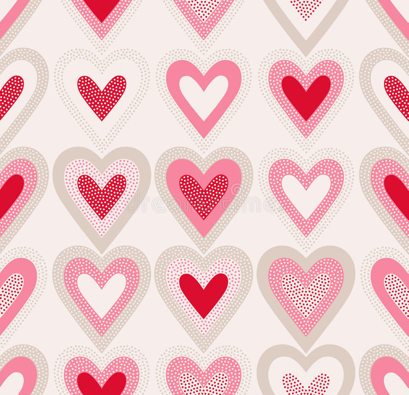 Seamless doodle dots heart pattern royalty free illustration