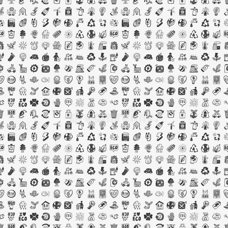 Seamless Doodle Eco Pattern Royalty Free Stock Photography
