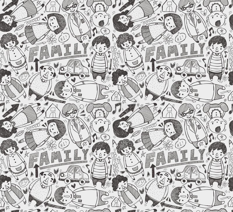 Download Seamless Doodle Family Pattern Stock Vector - Image: 29197179