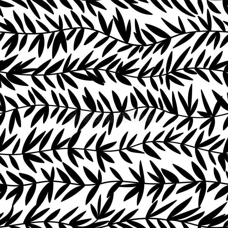Seamless doodle floral pattern. Endless wave branch with leaves. Vector seamless background in black and white. vector illustration