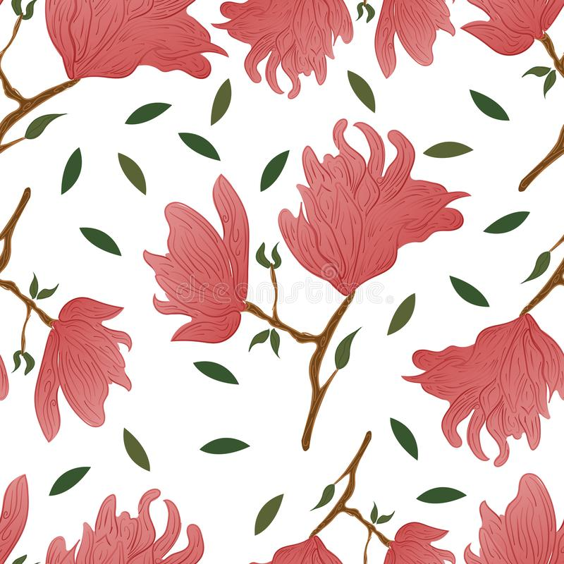 Seamless doodle Floral Pattern. Magnolia Flowers and Leaves Exotic. vector illustration