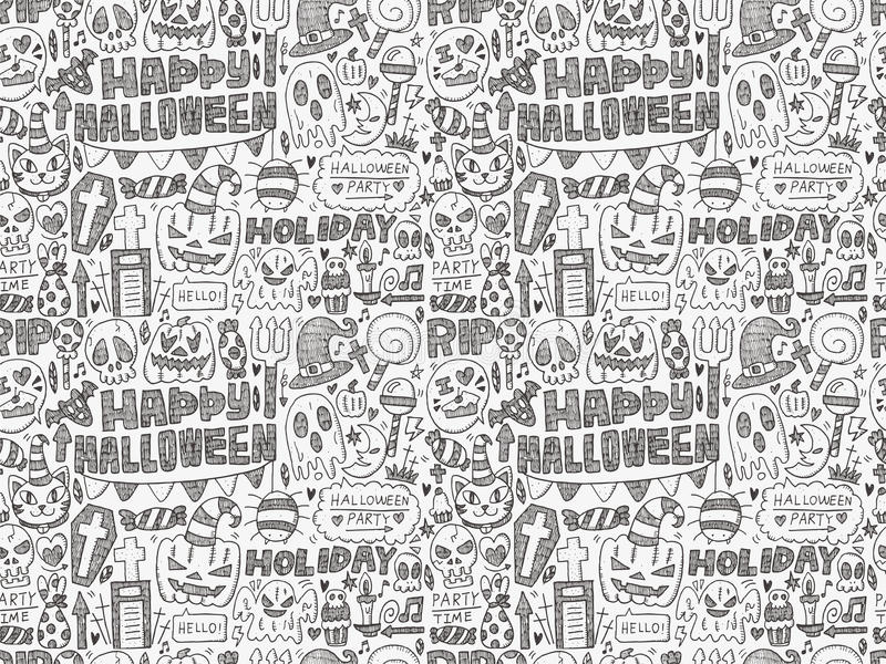 Seamless doodle halloween holiday background. Cartoon vector illustration vector illustration