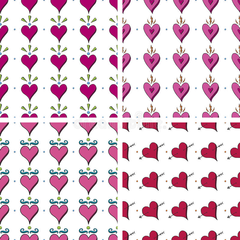 Download Seamless Doodle Heart Pattern Stock Vector - Image: 24076193