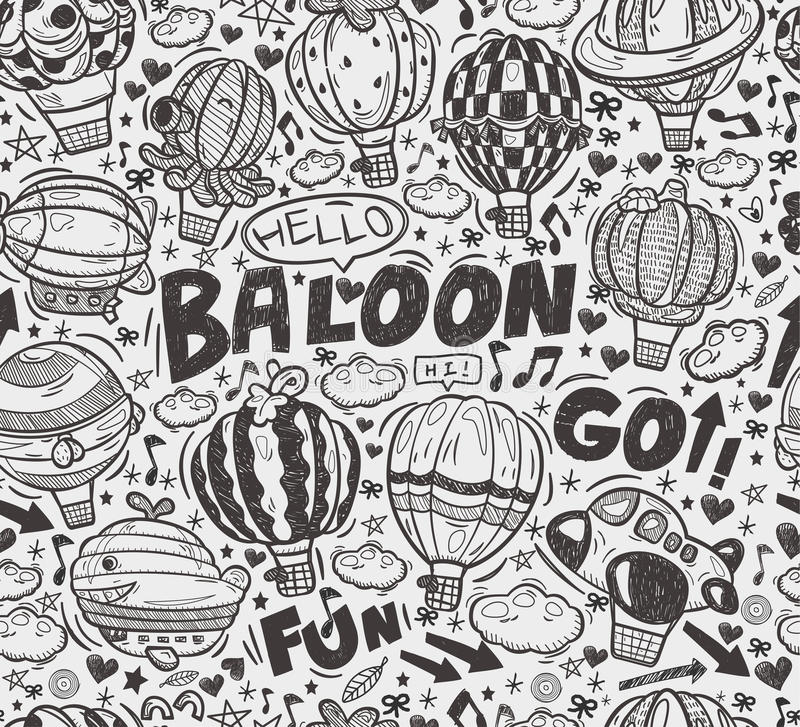 Download Seamless Doodle Hot Air Balloon Pattern Stock Photo - Image: 32940770