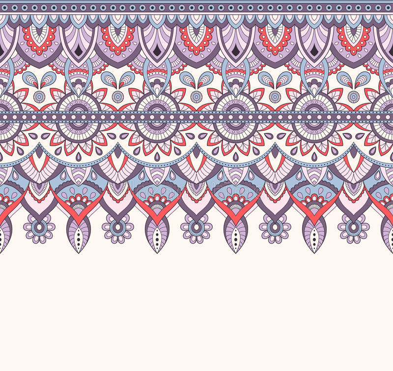 Seamless Doodle Illustration Zentangle Pattern Wallpaper Background Texture Indian Orment