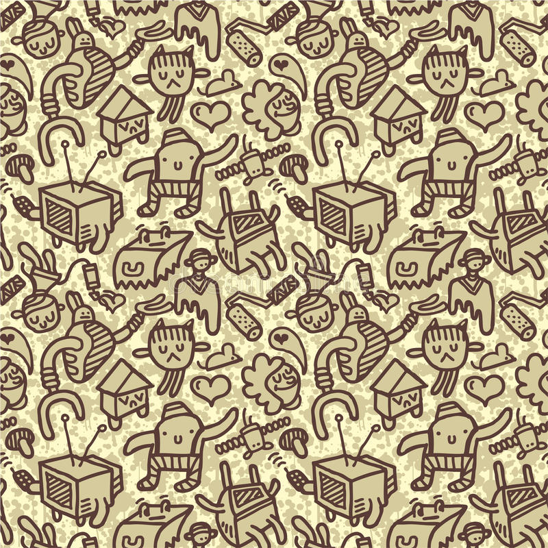 Free Seamless Doodle Pattern Royalty Free Stock Photography - 12114647