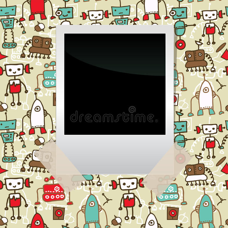 Seamless doodle pattern with colorful robots vector illustration