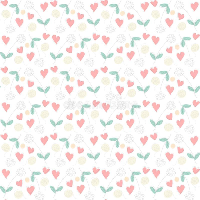 Floral drawing seamless pattern with flowers, hearts and swirls. stock illustration