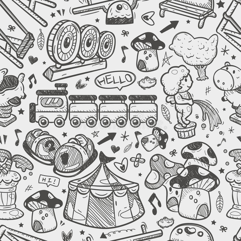 Seamless doodle playground pattern stock illustration