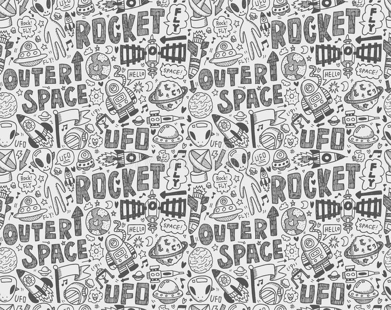 Seamless Doodle Space Pattern Stock Photos