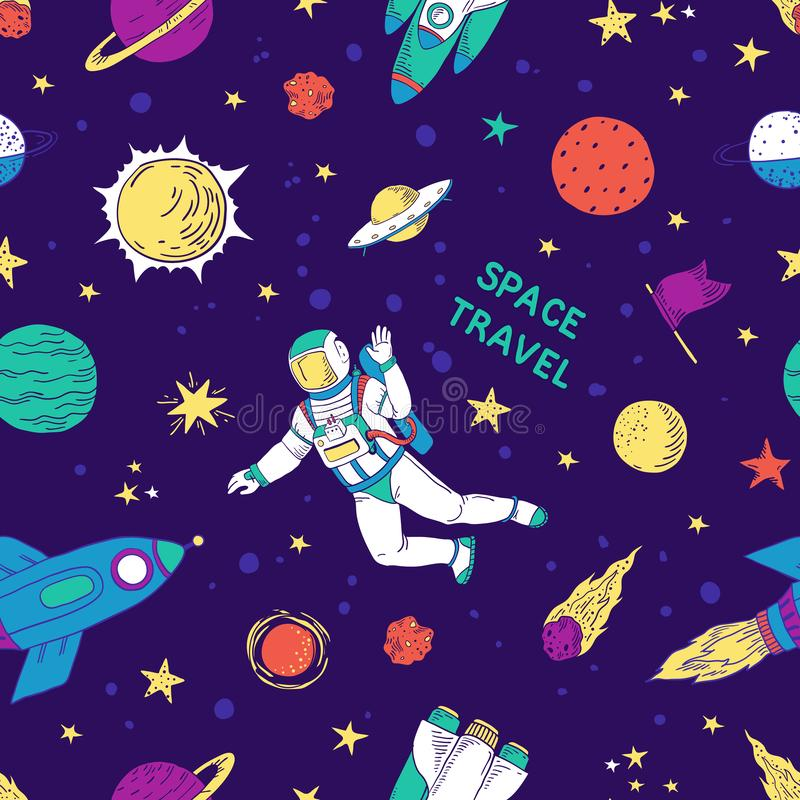Seamless doodle space pattern. Trendy cute kids hand drawn graphic astronomy elements. Vector rocket star planet space royalty free illustration