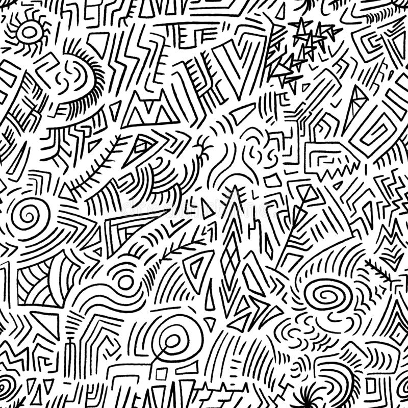 Quirky doodle background. Seamless doodle vector texture - quirky tribal drawing stock illustration
