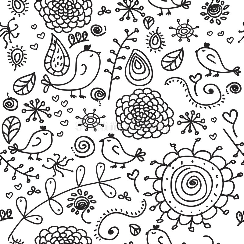 Download Seamless doodles stock vector. Image of birds, bird, isolated - 8969613