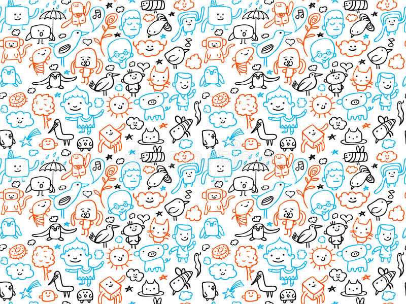 Download Seamless doodles pattern stock vector. Illustration of cartoons - 14674914