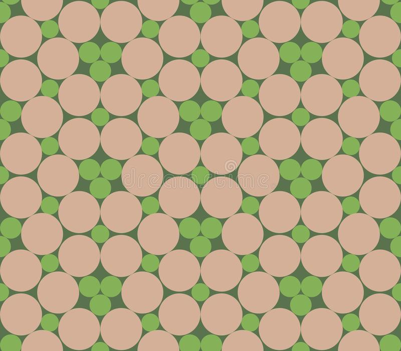 Seamless dots, seamless circles, abstract flowers. Geo, geometric pattern in beige and green. Seamless background with monotone pa vector illustration