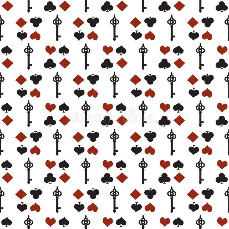 seamless dräkter för bakgrund Sömlös modell för poker eller för kasino - vit bakgrund för vektor med rött och svart spela royaltyfri illustrationer