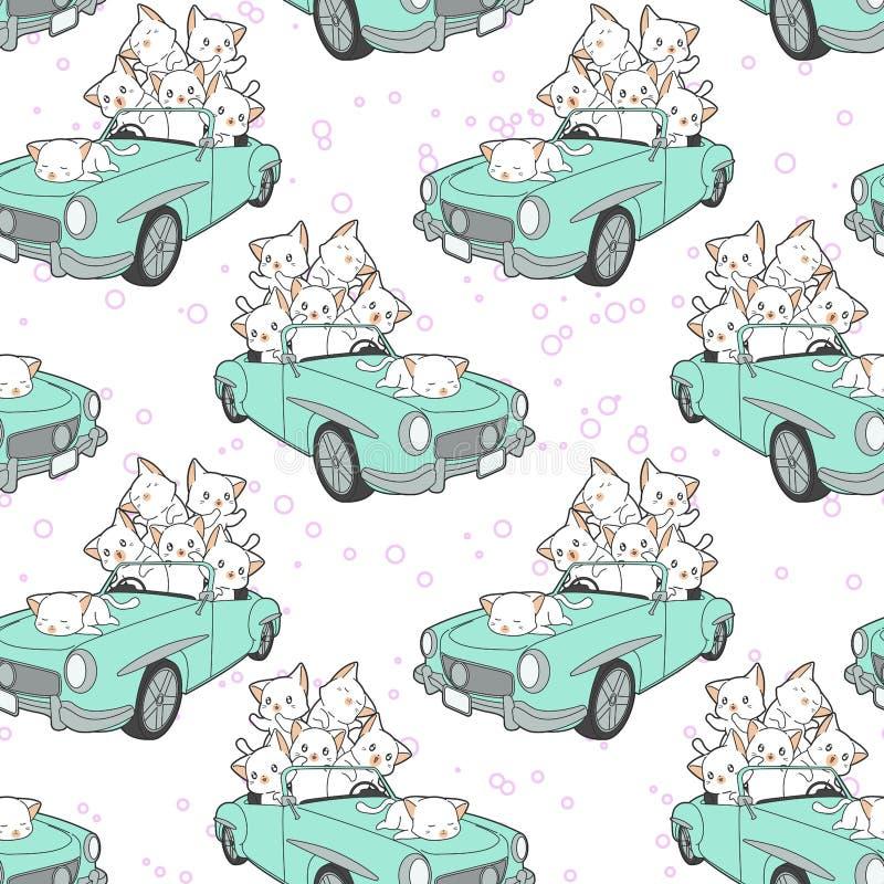 Seamless drawn kawaii cats in blue car pattern stock illustration