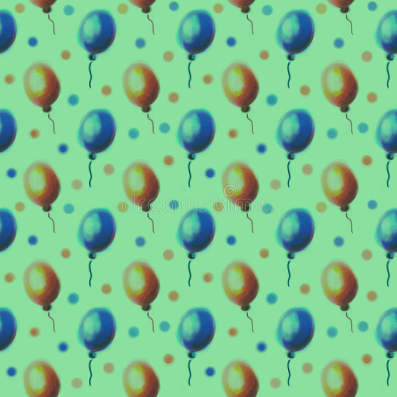 Seamless drawn pattern. Watercolor background with hand drawn air ballons. Series of Watercolor Seamless Patterns, Backgrounds stock illustration