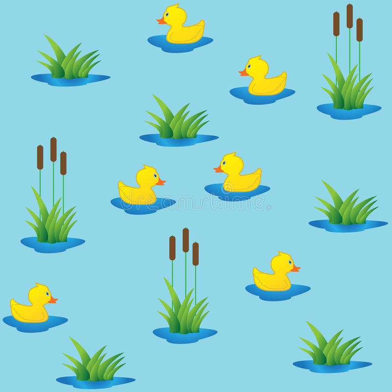 Seamless ducklings in canes. vector illustration