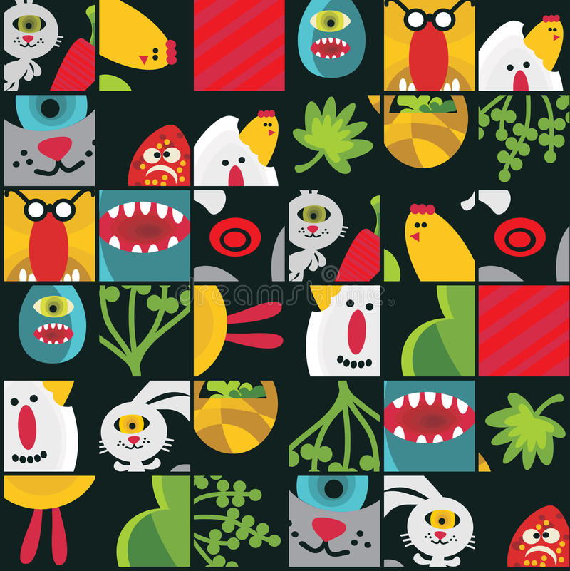 Download Seamless Easter Background With Monsters. Stock Vector - Image: 32882917
