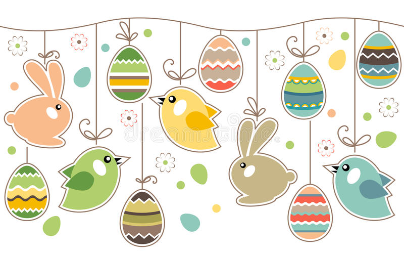 Seamless easter border with rabbits stock illustration
