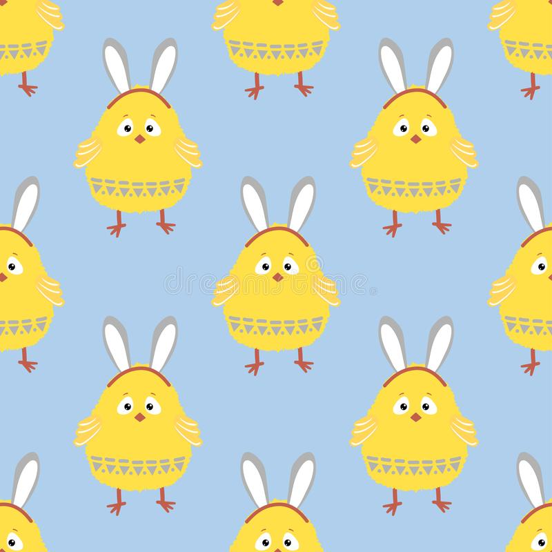 Seamless Easter chicken pattern. Vector background with cute chick stock illustration
