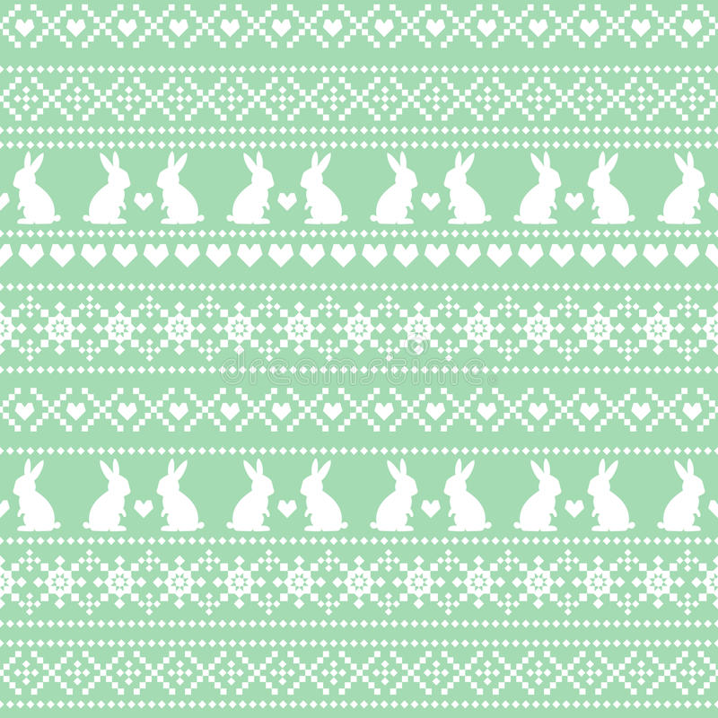 Seamless Easter pattern, card - Scandinavian sweater style. Green and white vector spring holiday background. vector illustration
