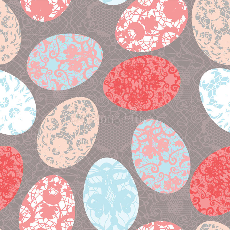 Seamless easter pattern with lacy eggs stock illustration