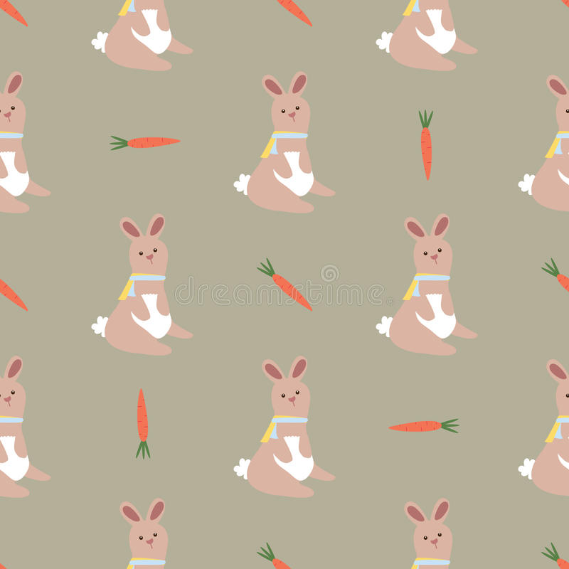 Seamless Easter pattern with rabbits and carrots for texture, background, envelope, wrapping. stock illustration