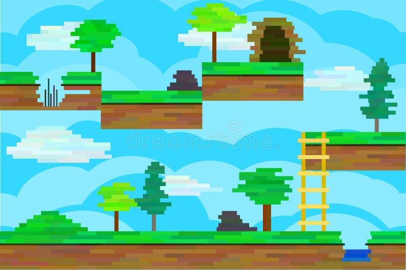 Seamless editable pixel landscape for platform game design. Seamless editable horizontal background from pixel blocks for platform game royalty free illustration