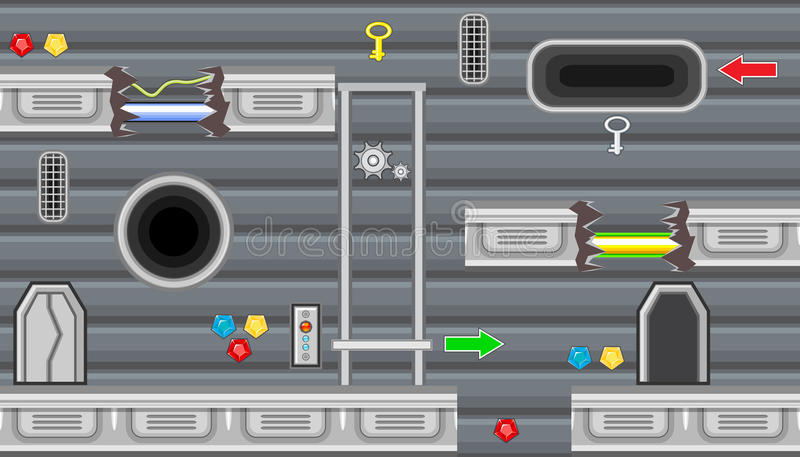 Seamless editable room with elevator and pointer for platform game design stock illustration