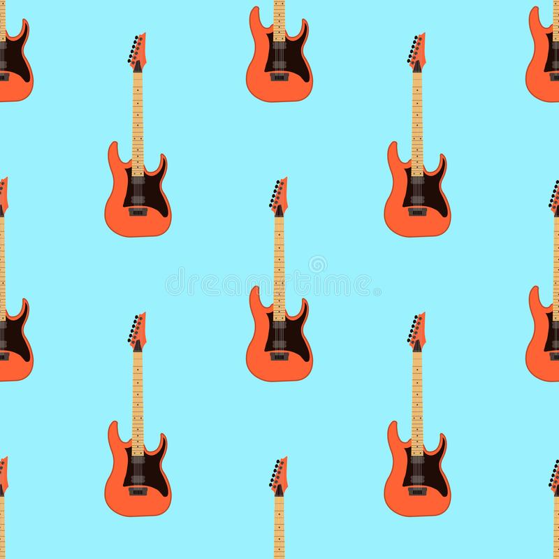Seamless electric guitar pattern on light blue background .Music instrument. Flat design Vector Illustration vector illustration