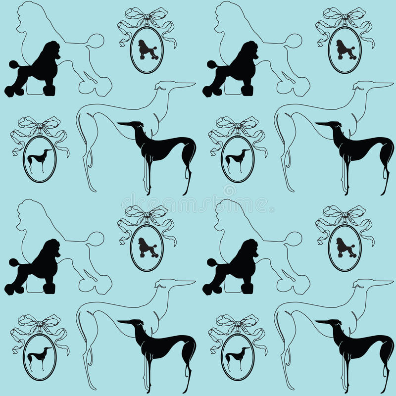 Download Seamless Elegant Background With Dogs Stock Vector - Illustration of wallpaper, decorative: 24765478