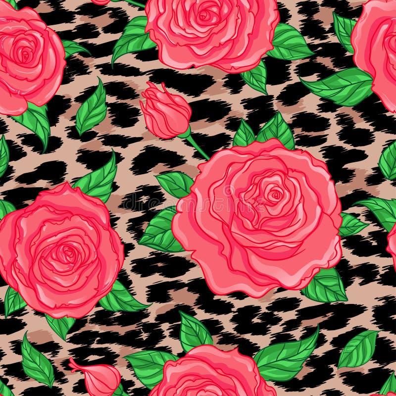 Seamless elegant vintage floral pattern over leopard skin background. Rose flowers, fusion. d vector illustration. vector illustration