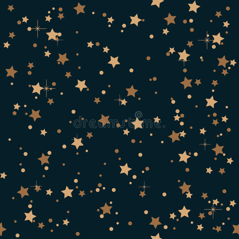 Seamless elegant vintage night and golden stars pattern background. royalty free illustration