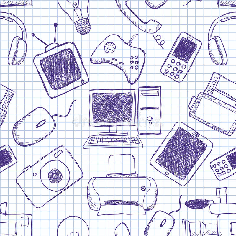 Seamless elektronik texturerar stock illustrationer