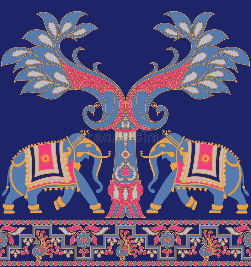 Seamless elephant peacock traditional border vector illustration