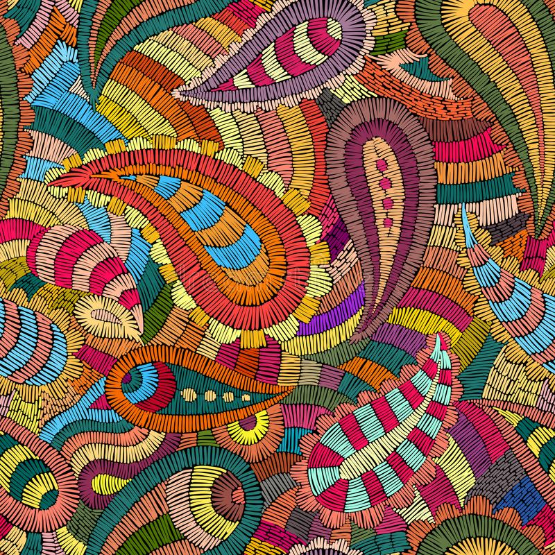 Seamless embroidered pattern. Ornament in the style of paisley. royalty free illustration