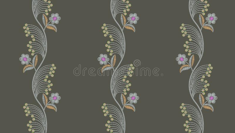 Seamless embroidery floral pattern royalty free illustration