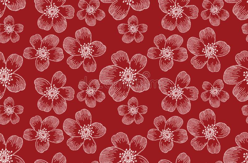Seamless embroidery flowers pattern. Fashion art template for clothes, t-shirt design, textile, wallpaper, pattern fills, covers,. Surface, print. on red vector illustration