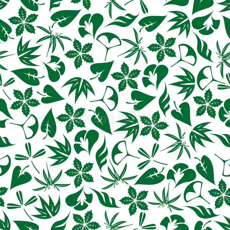 Seamless emerald green leaves and twigs pattern vector illustration