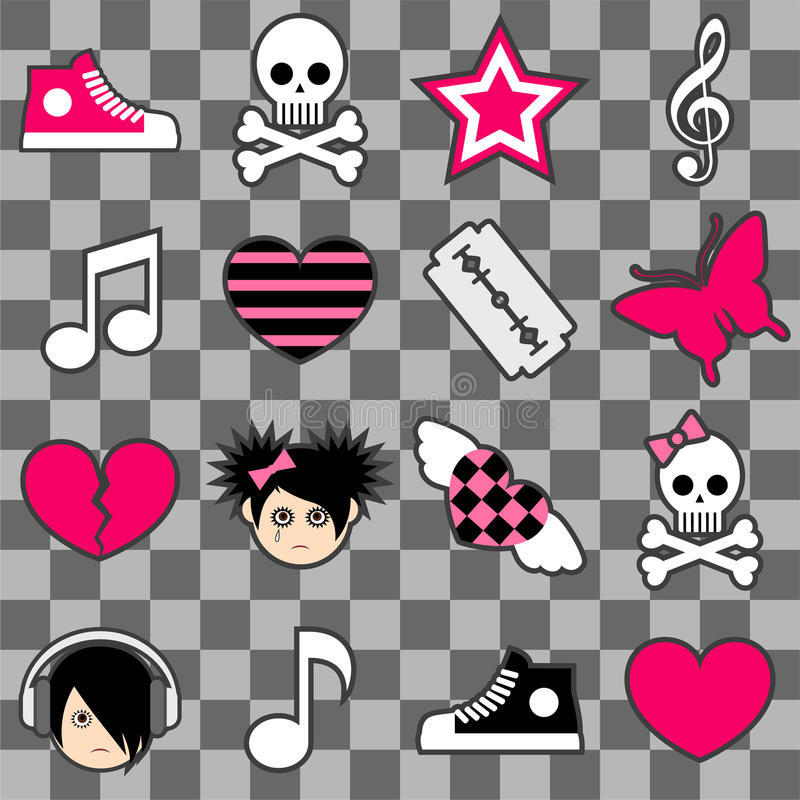 Seamless Emo Pattern Royalty Free Stock Images